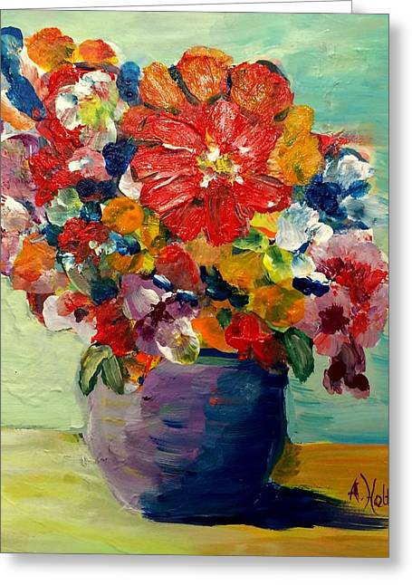 Greeting Card featuring the painting Cheerful Flowers In Pot by Arlene Holtz