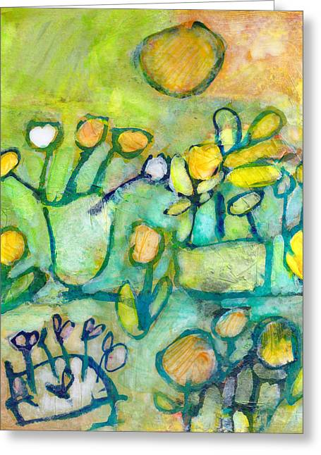 Greeting Card featuring the mixed media Cheerful Garden by Catherine Redmayne