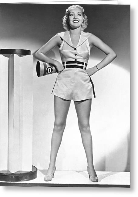Cheerleader Betty Grable Greeting Card by Underwood Archives