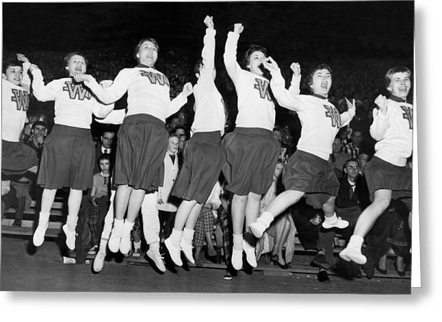 Cheerleaders Jump For Joy Greeting Card