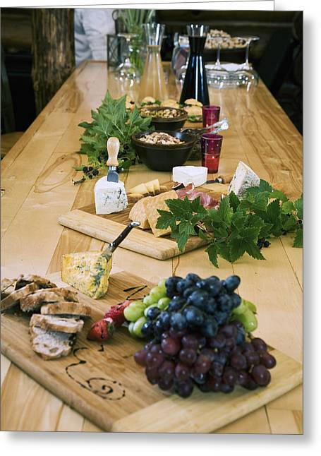 Cheese, Bread And Fruit Hors Doervres Greeting Card by Jeff Schultz