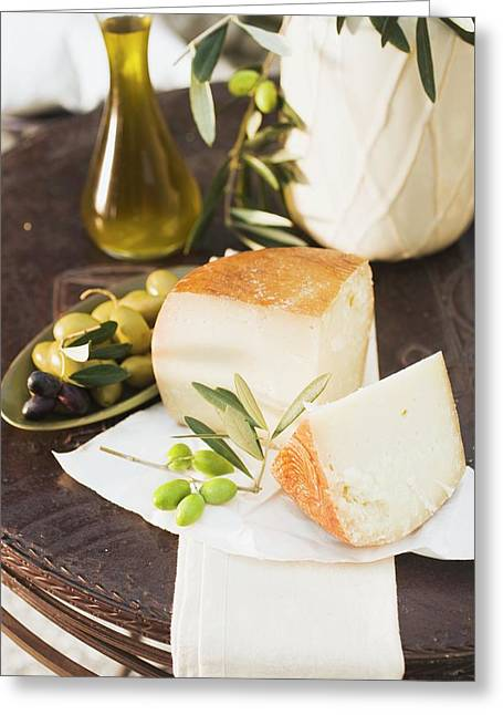Cheese, Olives And Olive Oil On Table Out Of Doors Greeting Card