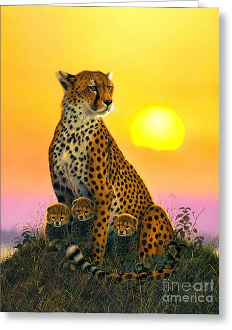 Cheetah And Cubs Greeting Card by MGL Studio - Chris Hiett