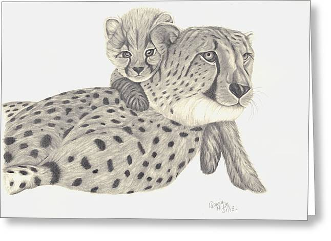 Cheetah And Her Cub 1 Greeting Card by Patricia Hiltz