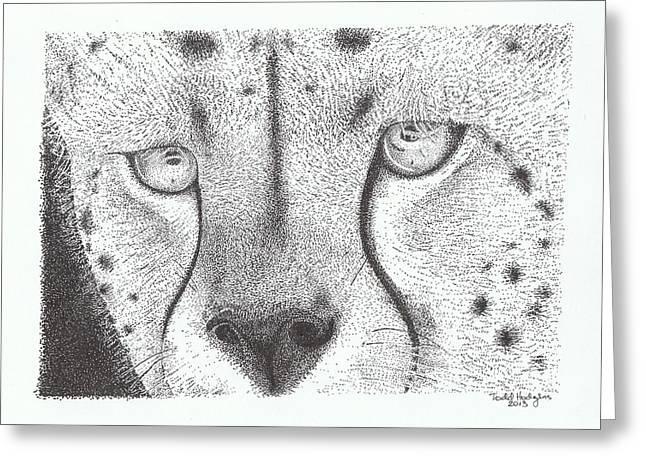 Cheetah Face Greeting Card by Todd Hodgins