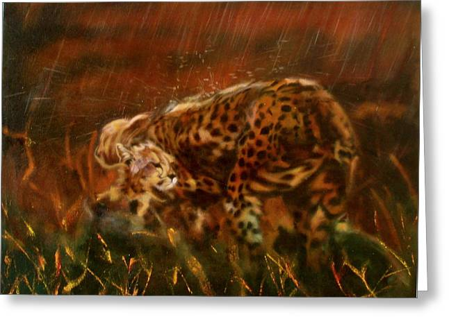 Cheetah Family After The Rains Greeting Card