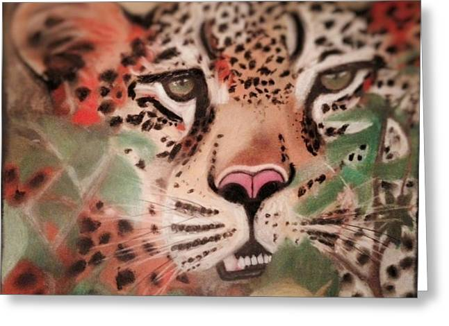 Cheetah In The Grass Greeting Card by Renee Michelle Wenker