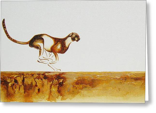 Cheetah Race - Original Artwork Greeting Card
