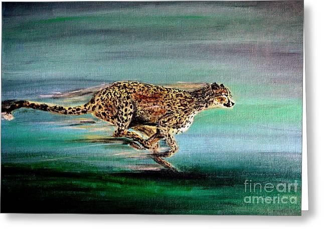 Cheetah Run 2 Greeting Card by Nick Gustafson