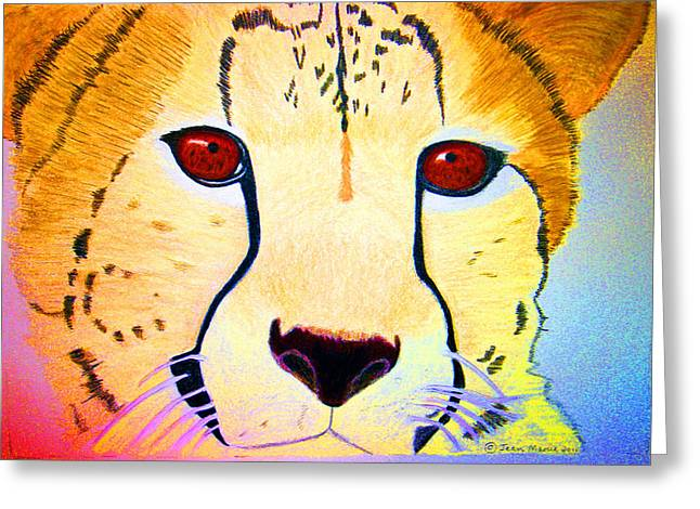 Cheetah With Color Greeting Card by Jean Marie Economen