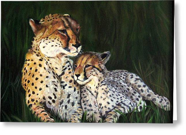 Greeting Card featuring the painting Cheetahs by LaVonne Hand