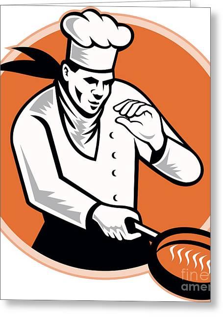 Chef Cook Cooking Pan Circle Greeting Card