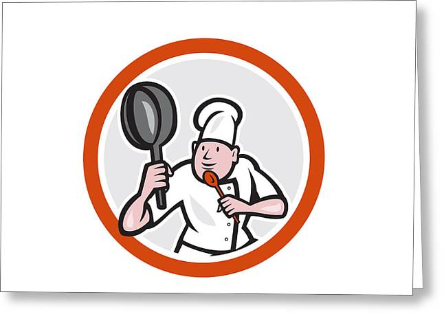 Chef Cook Holding Frying Pan Fighting Stance Cartoon Greeting Card