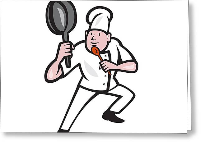 Chef Cook Holding Frying Pan Kung Fu Stance Cartoon Greeting Card