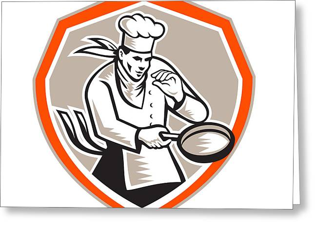 Chef Cook Holding Frying Pan Retro Greeting Card
