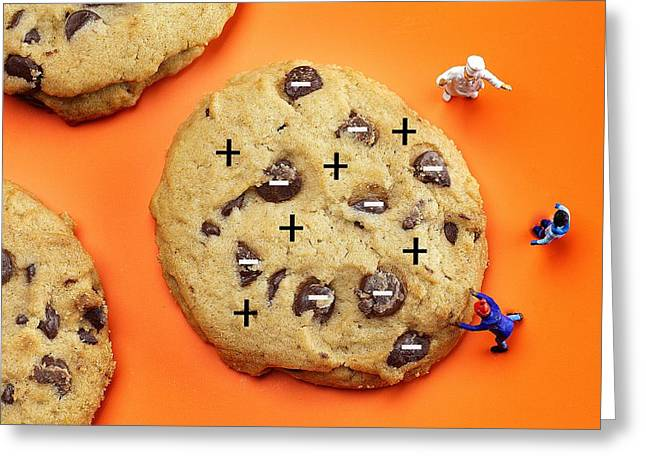 Greeting Card featuring the photograph Chef Depicting Thomson Atomic Model By Cookies Food Physics by Paul Ge