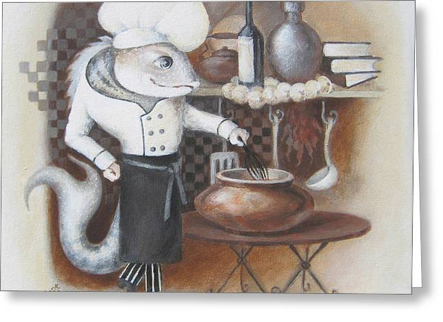 Greeting Card featuring the painting Chef by Marina Gnetetsky