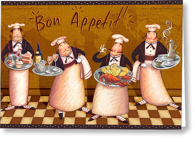 Chefs Bon Appetit Greeting Card by Viv Eisner