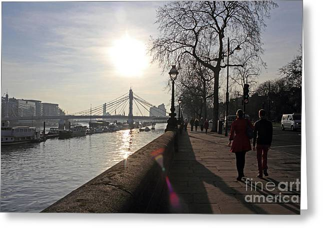 Chelsea Embankment London Uk Greeting Card