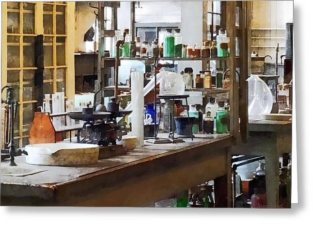 Chem Lab Greeting Card by Susan Savad