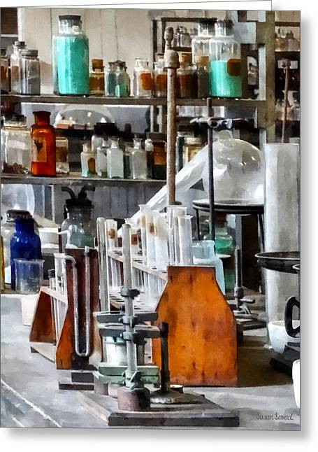 Chem Lab With Test Tubes And Retort Greeting Card