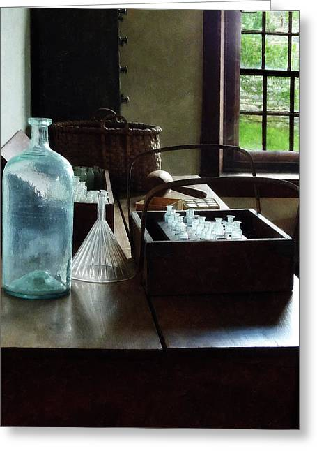 Chemist - Bottles Of Chemicals In A Wooden Box Greeting Card by Susan Savad