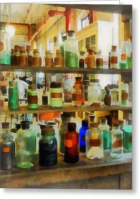 Chemistry - Bottles Of Chemicals Green And Brown Greeting Card by Susan Savad