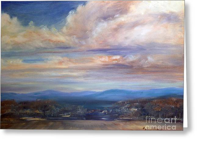 Greeting Card featuring the painting Chenango River Valley by Sally Simon