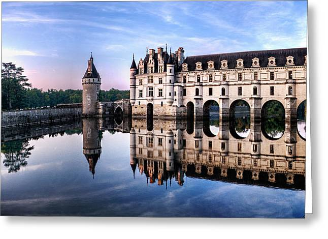Chenonceau Castle In The Evening Greeting Card