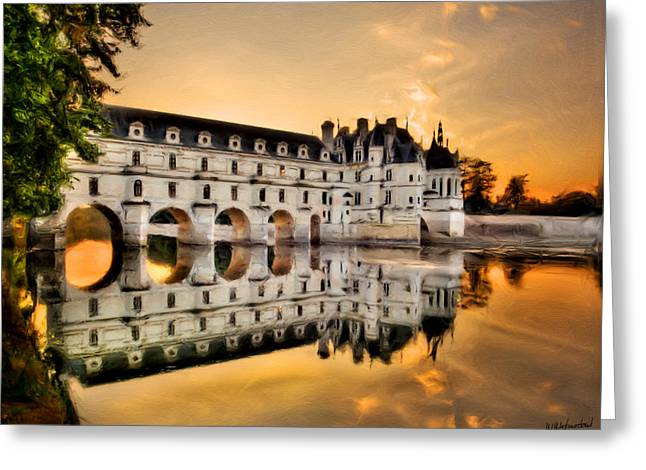 Chenonceau Castle In The Twilight Painting Greeting Card