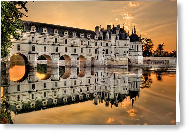 Chenonceau Castle In The Twilight Panorama Greeting Card