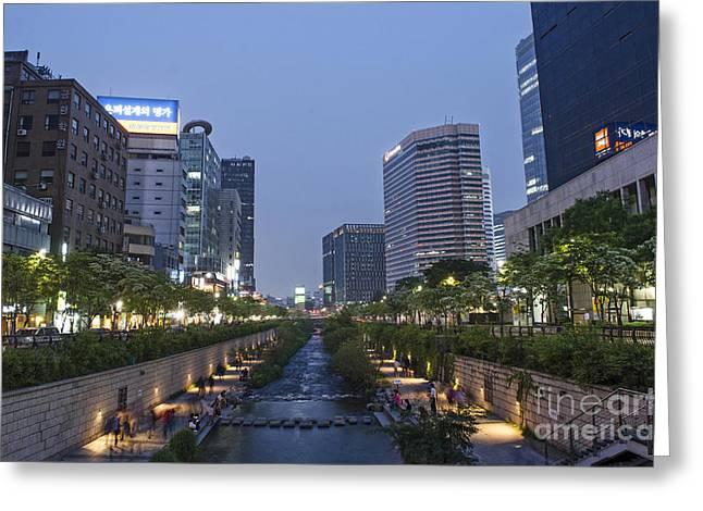 Cheonggyecheon Stream In Seoul South Korea Greeting Card