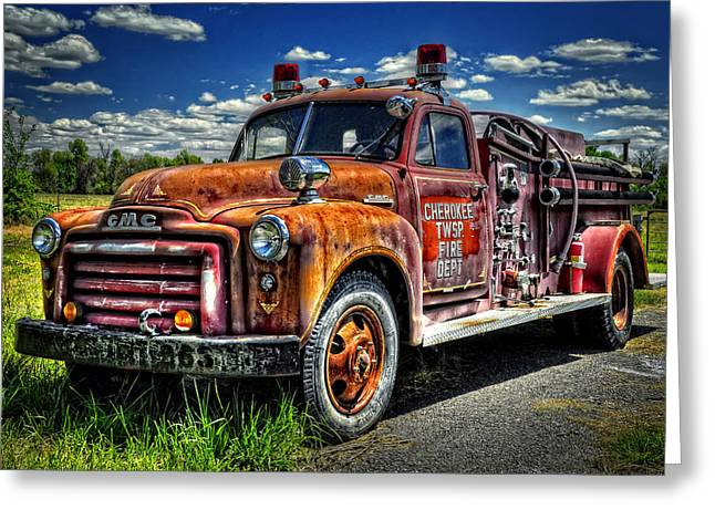 Cherokee Fire Truck Greeting Card by Ken Smith