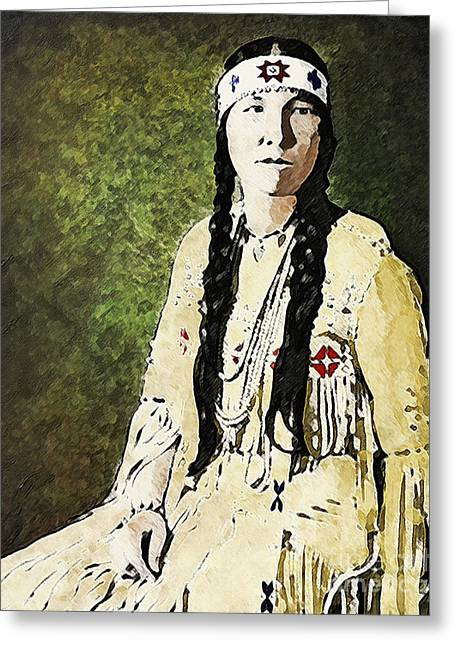 Greeting Card featuring the digital art Cherokee Woman by Lianne Schneider