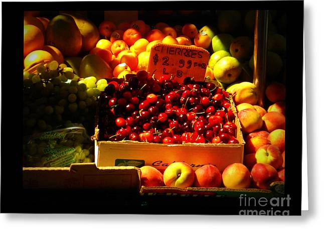 Greeting Card featuring the photograph Cherries 299 A Pound by Miriam Danar