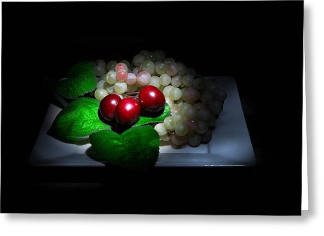 Cherries And Grapes Greeting Card