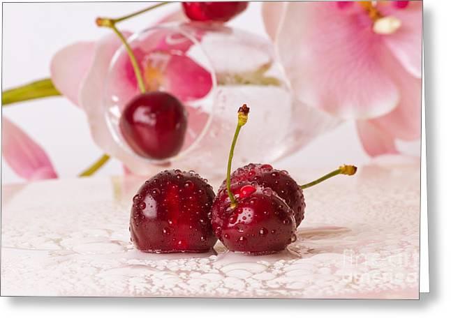 Cherries Greeting Card by Christine Sponchia