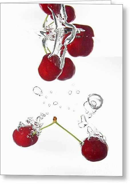 Cherries Fruits Splashing Underwater Greeting Card by Sami Sarkis