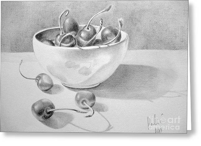 Cherries In White Bowl Greeting Card by Eleonora Perlic