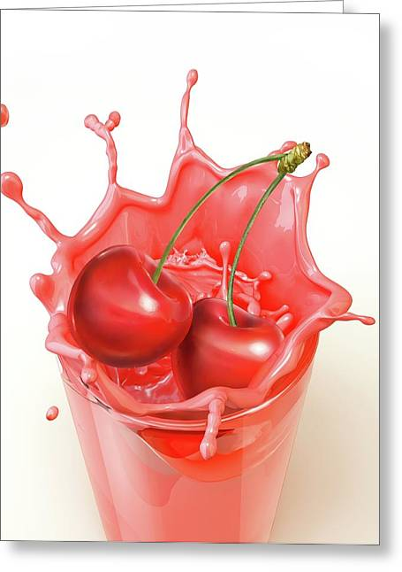 Cherries Splashing Into A Drink Greeting Card