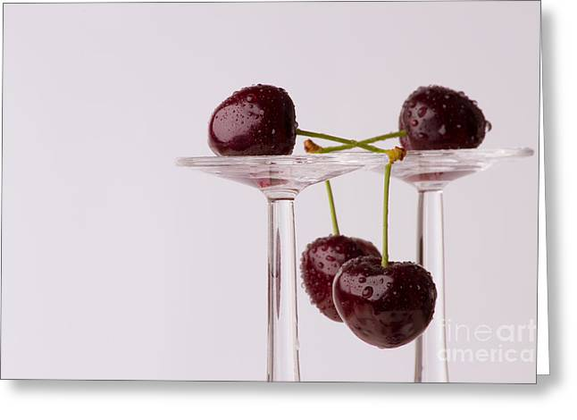 Cherries With Glasses Greeting Card by Christine Sponchia