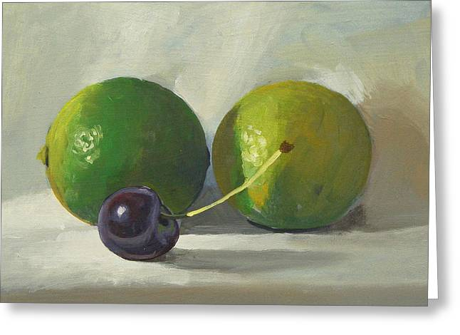 Cherry And Limes Greeting Card by Peter Orrock