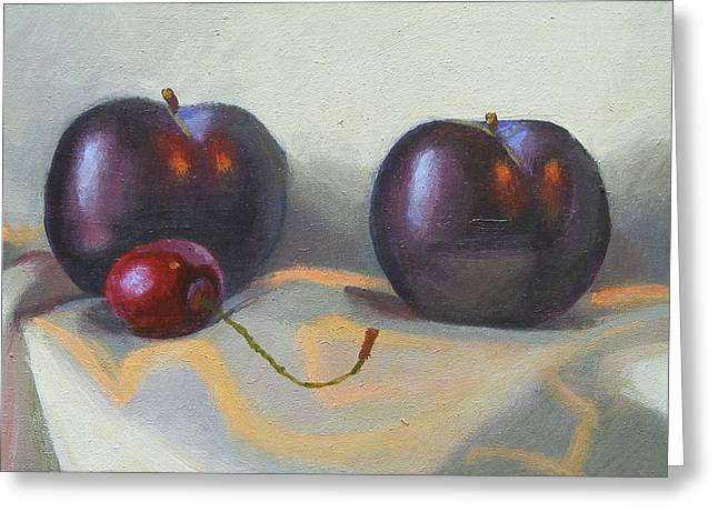 Cherry And Plums Greeting Card by Peter Orrock
