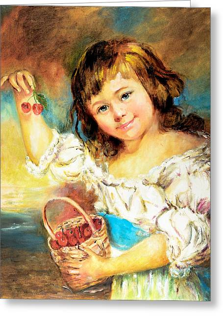 Greeting Card featuring the painting Cherry Basket Girl by Sher Nasser
