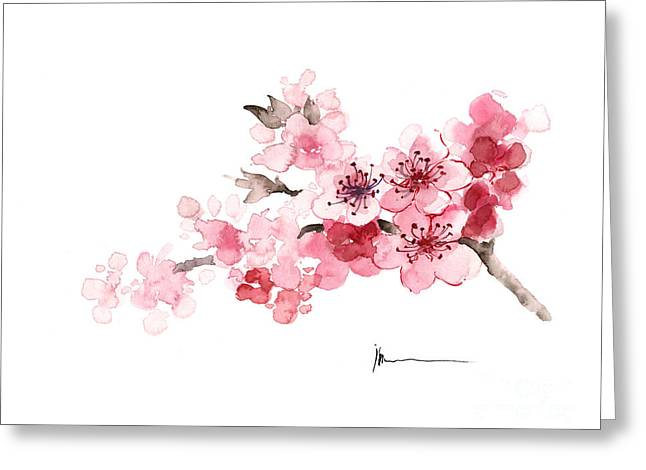 Cherry Blossom Branch Watercolor Art Print Painting Greeting Card by Joanna Szmerdt