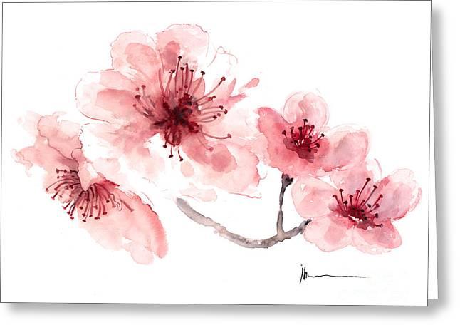 Cherry Blossom Fragrance Watercolor Art Print Painting Greeting Card by Joanna Szmerdt