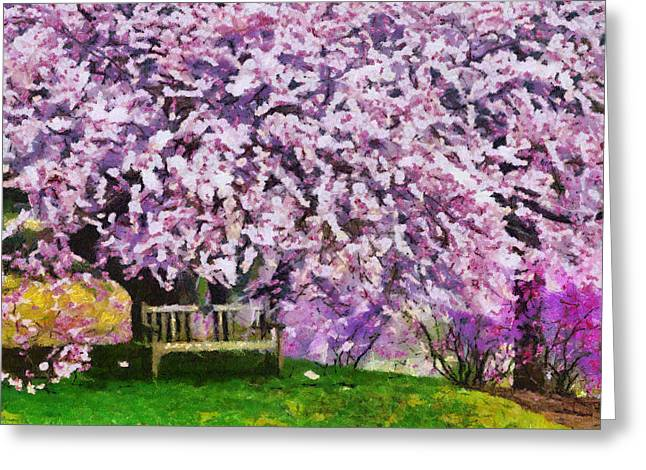 Greeting Card featuring the painting Cherry Blossom by Georgi Dimitrov