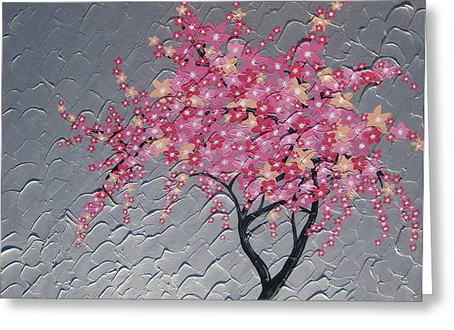 Cherry Blossom In Pink Greeting Card by Cathy Jacobs