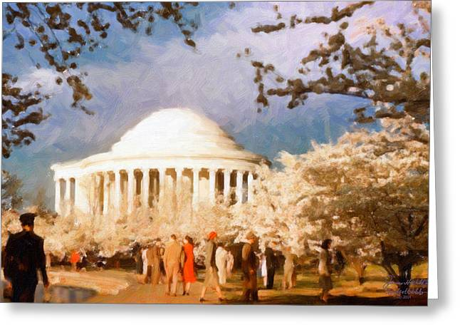 Cherry Blossom Jefferson Memorial 1950s Greeting Card by Spyder Webb