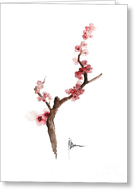 Cherry Blossom Painting Art Print Watercolor Large Poster Greeting Card by Joanna Szmerdt